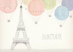 Bonjour Paris and hot air balloon illustration Illustration Parisienne, Illustration Art, Balloon Illustration, Wein Parties, Design Art, Graphic Design, Oui Oui, Illustrations, Air Balloon