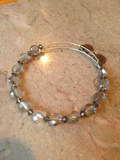 Alex-And-Ani-Vintage-Beaded-Bangle-Clear-Beads-Russian-Silver-Rare-Retired