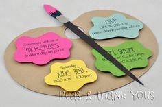 Art Party Painting Palette Invitation for Girls