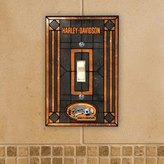 A lightswitch with style! Harley-Davidson Art Glass Switch Plate Cover