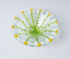 Daisy // FLower // Fused GLass Art Bowl // by LanieMarieDesigns