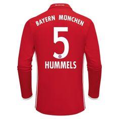 Bayern München 16-17 Mats #Hummels 5 Hjemmebanetrøje Lange ærmer,245,14KR,shirtshopservice@gmail.com