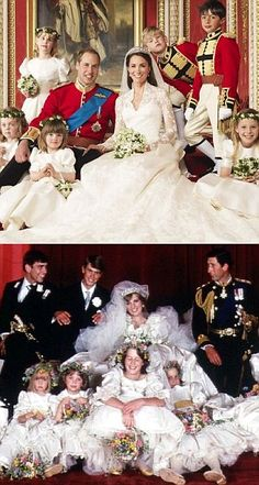 Royal Wedding Photo's then and now - William & Kate {top}, Charles & Diana {bottom}