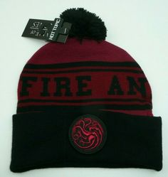 965e0f1f28d Game of Thrones Targaryen Fire and Blood Beanie Hat Black Red Dragon Patch   Bioworld