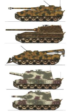 Various German late war heavy tank designs.  1.Heavy Battle Tank 105mm Main Gun  2.Heavy Tank Destroyer 128mm Main Gun  3.Recovery Tank 30mm Air-Defence  4.Siege Tank 305mm Mortar  5.Flametank Heavy Flamethrower