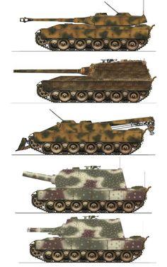 Various German late war heavy tank designs.  1.Heavy Battle Tank 105mm Main Gun  2.Heavy Tank Destroyer 128mm Main Gun  3.Recovery Tank 30mm Air-Defence  4.Siege Tank 305mm Mortar  5.Flametank Heavy Flamethrower