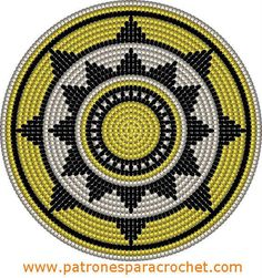 "The location where building and construction meets style, beaded crochet is the act of using beads to decorate crocheted products. ""Crochet"" is derived fro Tapestry Crochet Patterns, Crochet Motifs, Crochet Stitches Patterns, Crochet Chart, Bead Crochet, Stitch Patterns, Sac Granny Square, Mochila Crochet, Crochet Gratis"