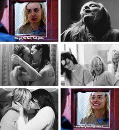 "Vauseman quotes, ""Orange Is The New Black"" Season 1 Video Romance, Alex And Piper, Netflix, Taylor Schilling, Laura Prepon, Cute Lesbian Couples, Lgbt Love, Orange Is The New Black, Girls In Love"