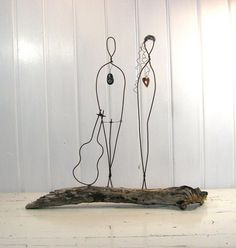 Wire Sculpture Valentines Couple Rustic House Decor  by idestudiet - Copyright 2013 All Rights Reserved
