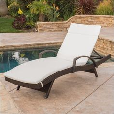 Outdoor Chaise Lounge Chair Beige Brown Wicker Patio Deck Pool Furniture  | eBay