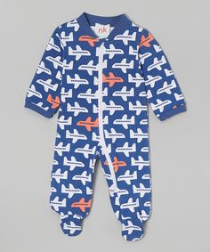 Look at this Blue & Orange Airplane Zip-Up Footie - Infant on #zulily today! Nktoo by Nohi Kids