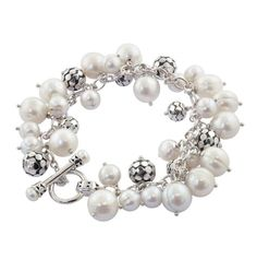 "Honora Sterling Silver 5-11 MM White Freshwater Cultured Pearls Times Square Jingle Toggle 7.5"" Bracelet Honora"