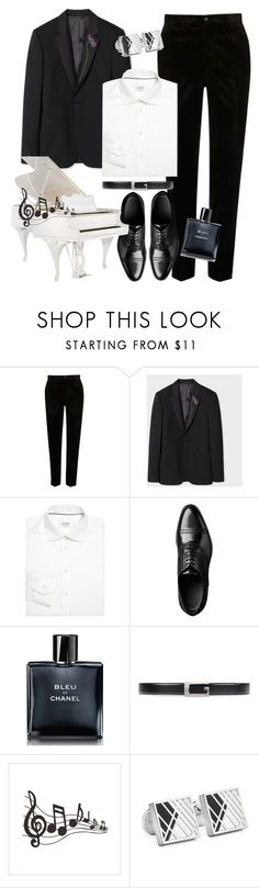 """Piano instruments"" by yinggao ❤ liked on Polyvore featuring River Island, Paul Smith, ETON, Chanel, Gucci, Robert Graham, men's fashion, menswear, music and men"