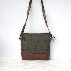 0d4da4a119 Canvas crossbody purse large medium green hobo bag Jute bag
