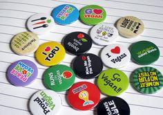 Selection of Vegan themed button badges #handmade #badges #vegan