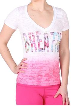 Dip Dye Breathe Poppy Pink Yoga Tee Shirt by Anjali. Long and slim, the Dip Dye breathe Yoga Tee is ideal to wear with your own sports bra.   Designed to function in and out of the studio with the reminder to breathe emblazoned across the heart center.   The graphic on front conveniently coordinates with the Wild Flower Crop Ferocity Leggings, for that pulled together, I totally planned that look! Pinned by KarmicFit | #yoga #yogashirts #yogatops #tshirts #yogatees #cute #fashion