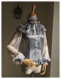 fanplusfriend - Silence Lonely, Elegant Gothic Puffy Sleeves Real Silk Blouse & Choker Jabot (http://www.fanplusfriend.com/silence-lonely-elegant-gothic-puffy-sleeves-real-silk-blouse-choker-jabot-2colors-instant-shipping/)