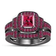 2.10 CT Princess & Rd Sapphire 925 Silver Bridal Ring Set IN 14k Black Gold…
