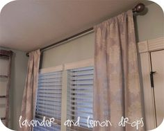 stenciled canvas drop cloths as curtains...love this!!! Stencil came from hobby lobby. She used latex paint but fabric paint would be good too