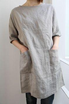 Linen tunic dress   make   Pinterest   Linens, Linen Tunic and Pockets