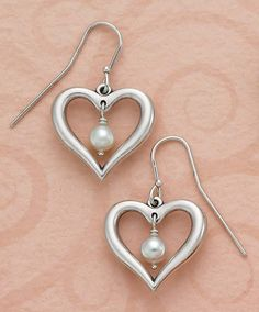 Heart with Pearls Ear Hooks #jamesavery #jewelry
