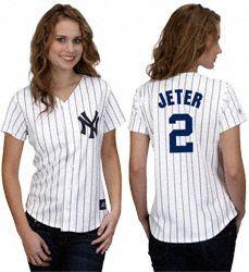 Derek Jeter Women's Jersey: Women's Majestic Home White #2 New York Yankees Jersey $79.99 http://fanshop.sfgate.com/Derek-Jeter-Womens-Jersey-Womens-Majestic-Home-White-2-New-York-Yankees-Jersey-_1423006552_PD.html?social=pinterest_pfid63-11400