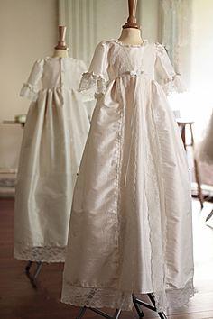 66f95d112e2 Robe longue baptême bébé fille en soie et dentelle italienne Fil de Légende  - modèle Clémence