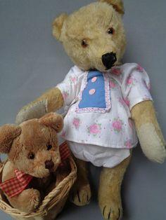 Antique Steiff Teddy Bear 1950s w Doll´s Dress Basket Teddy Baby So Cute   eBay