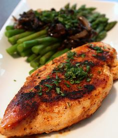 Spicy Bronzed Chicken with Asparagus and Caramelized Balsamic Onions