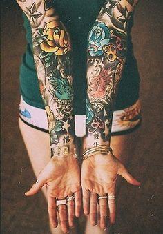 traditional tattoo sleeve girl - Sök på Google