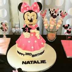 What a cute cake at a Minnie Mouse birthday party! See more party ideas at CatchMyParty.com!