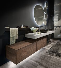 Italian bathroom furnishing Edoné, new material: HPL - Modern Bathroom Modern Bathroom Design, Bathroom Interior Design, Modern Interior, Kitchen Interior, Modern Design, Italian Bathroom, Modern Contemporary Bathrooms, Dream Bathrooms, Small Bathrooms