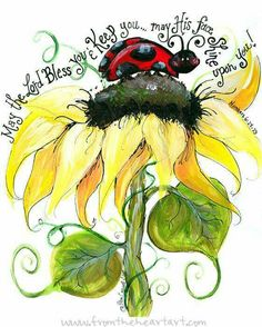 Happy Flowers: Ladybug and Sunflower Print