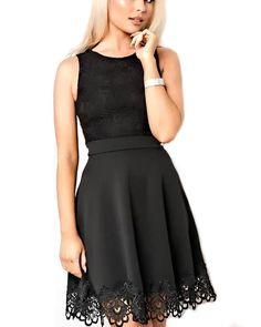 GIANNA Black Sleeveless Lace Top & Hem Skater Dress | Buy online | Jumia  Kenya