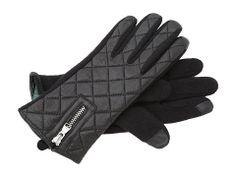 LAUREN Ralph Lauren Cut & Sew Quilted Back Leather Glove Black/Black - 6pm.com
