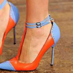 Orange and Blue Pointy Toe T Strap Heels Stilettos High Heel Shoes for Formal event, Ball, Date, Big day, Going out Hot High Heels, High Heels Stilettos, High Heel Boots, Stiletto Heels, Women's Pumps, Shoe Boots, Flat Shoes, Pump Shoes, Shoes Heels