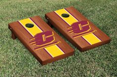 Central Michigan Chippewas Cornhole Game Set Rosewood Stained Stripe Version