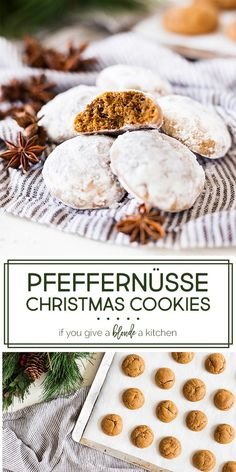 Pfeffernüsse cookies are a traditional Christmas cookie in Germany. Made with molasses, anise, pepper and other seasonal spices, these cookies are chewy and coated in confectioners' sugar. Cookies Oreo, Anise Cookies, Galletas Cookies, Xmas Cookies, German Christmas Cookies, German Cookies, Healthy Christmas Cookies, Best Holiday Cookies, Christmas Snacks