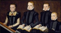 later 1560s. Master of the Countess of Warwick (fl. later 1560s), Unidentified English children. Oldest child is holding a Josquin des Prez part book