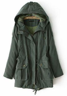 Army Green Drawstring Pockets Cotton Blend Padded Coat