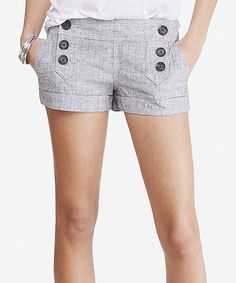 Look what I found on #zulily! Black & White Sailor Low-Rise Linen-Blend Shorts #zulilyfinds