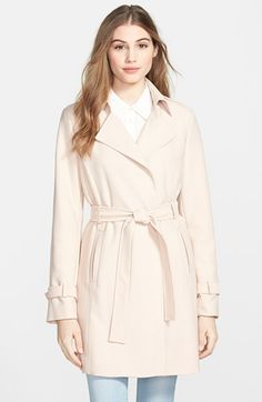 T Tahari 'Daphine' Belted Trench Coat at Nordstrom.com. A minimum of detailing and a wrap silhouette create relaxed appeal on a textured trench coat fitted with princess seams.