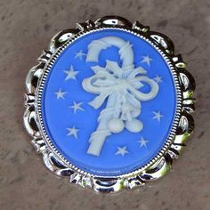 Blue candy cane Christmas brooch cameo by Susie Carol | Jewels & Finery UL