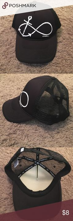 O'Neill trucker hat Practically new O'Neill infinity anchor trucker hat. Black. Never wore it. Adjustable strap. O'Neill Accessories Hats