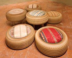 Blazing Ways To Reuse Old Tires - DIY furniture from car tires - ChecoPie Reuse Old Tires, Reuse Recycle, Upcycle, Recycled Tires, Tire Seats, Tire Chairs, Tire Furniture, Garden Furniture, Furniture Ideas