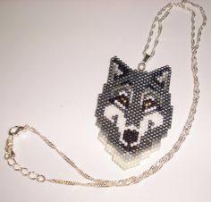 Native American Beaded Pendant Necklace Wolf Medicine by jstinson