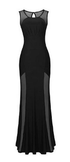 Love Love LOVE this Dress! Sexy Round Neck Sleeveless Spliced Hollow Out Women's Black Maxi Dress