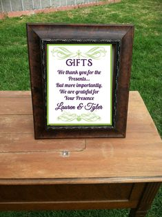 Wedding Gift Table Sign Thank You CUSTOMIZED In By SayzItAll 1025