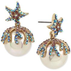 Betsey Johnson Gold-Tone Colored Pave & Imitation Pearl Starfish Drop... ($42) ❤ liked on Polyvore featuring jewelry, earrings, multi, earring jewelry, pave jewelry, betsey johnson jewelry, fake pearl drop earrings and gold colored earrings