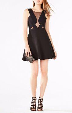 5b82c0a07920 $248 BCBG MaxAzria Black Britney Illusion Mesh Fit & Flare Mini Dress 2 NWT  B683 #